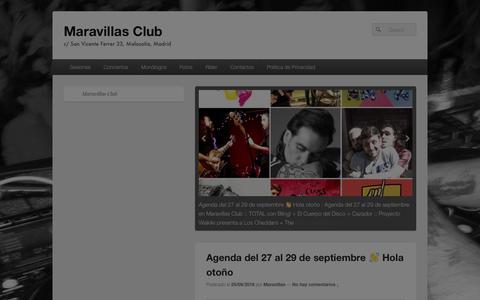 Screenshot of Home Page maravillasclub.com - Maravillas Club - c/ San Vicente Ferrer 33, Malasaña, Madrid - captured Oct. 1, 2018