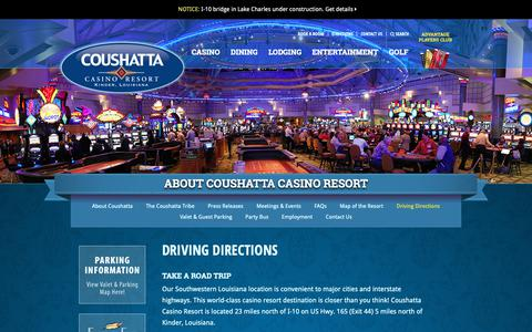 Screenshot of Maps & Directions Page coushattacasinoresort.com - Directions - Coushatta Casino Resort - captured Nov. 5, 2018