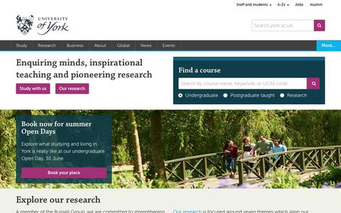 Screenshot of Home Page york.ac.uk - University of York - captured June 21, 2017