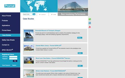 Screenshot of Case Studies Page promat.co.uk - Case Studies - Promat UK - Leaders in Passive Fire Protection Solutions - SUPALUX - MASTERBOARD - DURASTEEL - captured Oct. 3, 2014