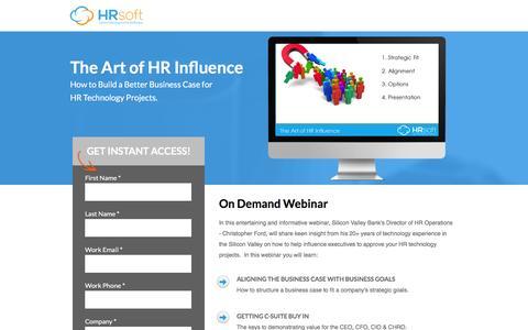 Screenshot of Landing Page hrsoft.com - The Art of HR Influence   HRsoft - captured Sept. 6, 2016
