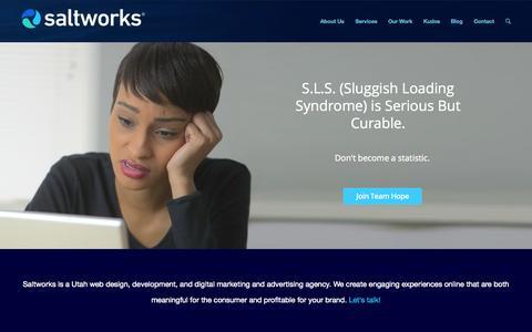 Screenshot of Home Page saltworksdigital.com - Utah Web Design, Digital Marketing Agency | Saltworks - captured Jan. 21, 2015
