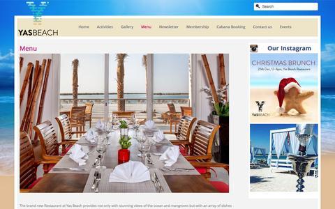 Screenshot of Menu Page yasbeach.ae - Menu - captured Dec. 19, 2015