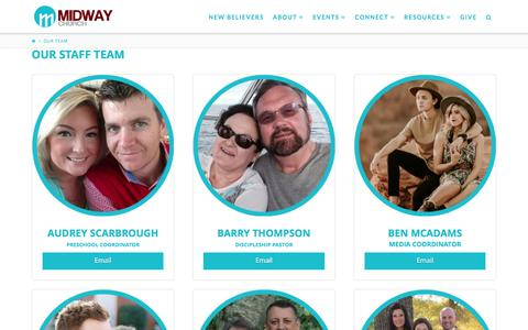 Screenshot of Team Page midwaychurch.com - Our Team | Midway Church - captured June 10, 2017