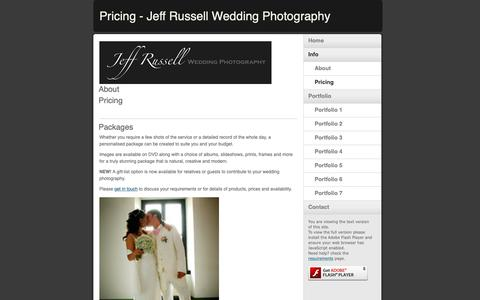 Screenshot of Pricing Page jrweddingphoto.co.uk - Pricing - Jeff Russell Wedding Photography - captured Oct. 13, 2018