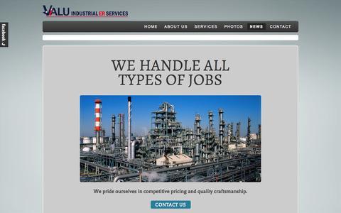 Screenshot of Press Page valuindustrialservices.com - News - Valu Industrial ER Services, LLC - captured Oct. 27, 2014