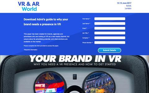 Screenshot of Landing Page knect365.com - VR & AR World download brochure - captured April 27, 2018