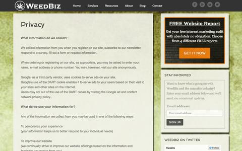 Screenshot of Privacy Page weedbiz.us - Privacy - captured Oct. 26, 2014