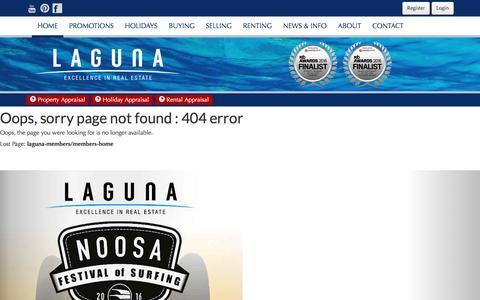Screenshot of Login Page lagunarealestate.com.au - Error - captured June 15, 2016