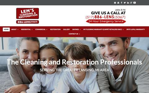 Screenshot of Home Page lenscarpetcare.com - LEN'S Carpet Cleaning & Restoration: Lansing, MI: Upholstery, Air Duct & More - captured Sept. 19, 2015