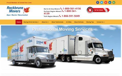 Screenshot of Home Page rockbrune.com - Moving Company, Barrie, Ajax, Oshawa, Newmarket Movers - captured Nov. 17, 2018