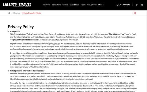 Screenshot of Privacy Page libertytravel.com - Privacy Policy | Liberty Travel - captured Dec. 14, 2018
