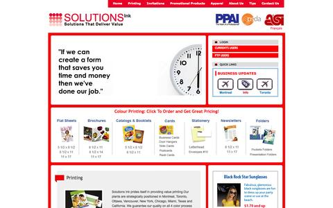 Screenshot of Home Page solutionsink4u.com - Solutions Ink | Printing | Invitations | Promotional Products | Gift Cards | Apparel | Montreal - captured Oct. 6, 2014