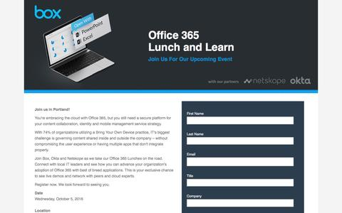 Screenshot of Landing Page box.com - Office 365 lunch and Learn - captured Oct. 23, 2016