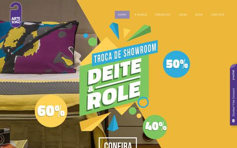 Screenshot of Home Page artedosono.com.br - Arte do Sono | Sua loja de colchões premium em Belo Horizonte - captured July 30, 2018