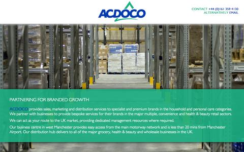 Screenshot of Services Page acdoco.co.uk captured Oct. 4, 2014