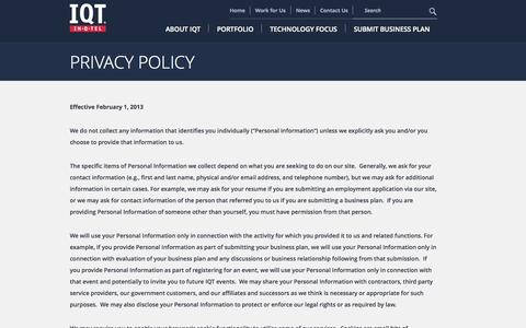 Screenshot of Privacy Page iqt.org - In-Q-Tel - captured Oct. 4, 2014