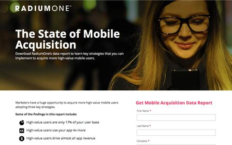 Screenshot of Landing Page radiumone.com - State of Mobile Acquisition - captured March 30, 2017