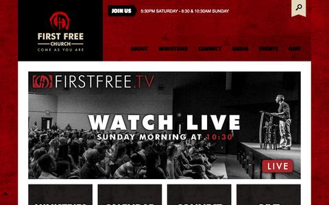 Screenshot of Home Page firstfree.org - First Free Church | Welcome! - captured Oct. 1, 2014