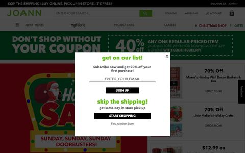 Screenshot of Home Page joann.com - JOANN Fabric and Craft Stores – Shop online - captured Dec. 9, 2018