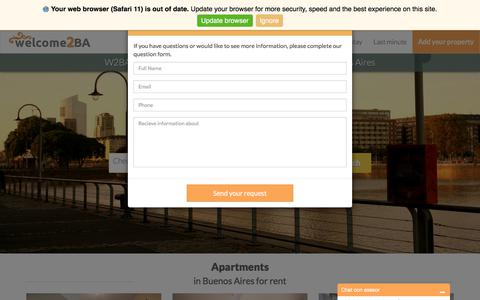 Screenshot of Contact Page welcome2ba.com - Buenos Aires Apartments for temporary rentals - Furnished Apartments Buenos Aires - Welcome2ba - Welcome2BA - captured Sept. 20, 2018