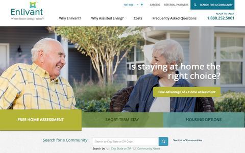 Screenshot of Home Page enlivant.com - Senior Assisted Living Facilities and Communities | Enlivant - captured Sept. 19, 2014