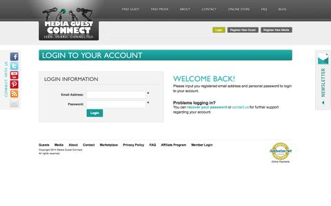 Screenshot of Login Page mediaguestconnect.com - MediaGuestConnect - Homepage - captured Oct. 27, 2014