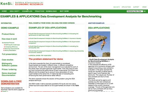 Screenshot of Case Studies Page dea-analysis.com - DATA ENVELOPMENT ANALYSIS for BENCHMARKING SOFTWARE - captured June 15, 2016