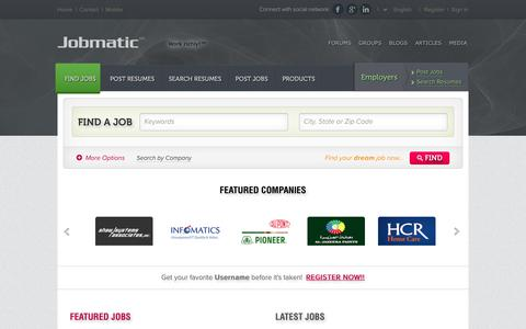 Screenshot of Home Page jobmatic.com - Find Jobs Online - Jobmatic™ Employment Portal & Career Network:  home - captured Sept. 30, 2014