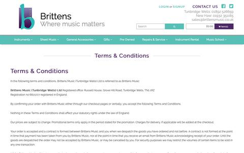 Screenshot of Terms Page brittensmusic.co.uk - Terms & Conditions   Brittens Music - captured Nov. 6, 2018