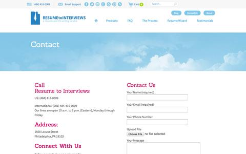 Screenshot of Contact Page resumetointerviews.com - Contact information: Resume to Interviews - Email, Live Chat, Phone - captured Sept. 22, 2014