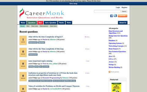 Screenshot of FAQ Page careermonk.com - Recent questions - CareerMonk Publications - Interview Questions | Books - captured Nov. 3, 2014
