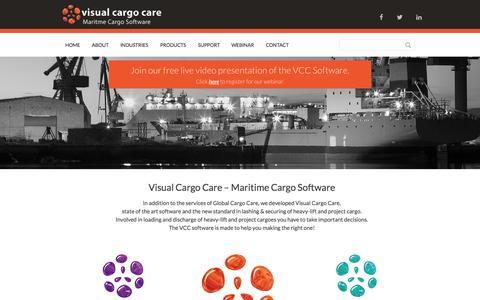 Screenshot of Home Page visualcargocare.com - Visual Cargo Care - Maritime Cargo Software - Visual Cargo Care - captured Jan. 22, 2015