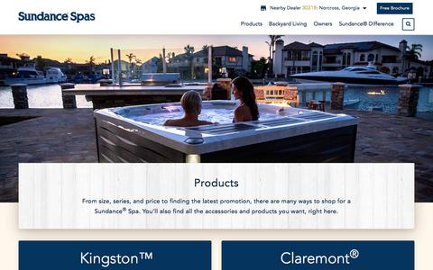 Screenshot of Products Page sundancespas.com - Best Hot Tubs and Spas by Size, Series and Price | Sundance® Spas - captured July 2, 2018