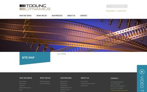 Screenshot of Site Map Page toolingdynamics.com - Site Map - Tooling Dynamics - captured Oct. 18, 2018