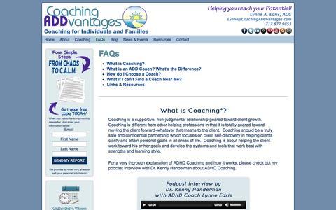 Screenshot of FAQ Page coachingaddvantages.com - FAQs - captured Sept. 30, 2014