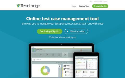 Screenshot of Home Page testlodge.com - Online Test Case Management Tool - TestLodge - captured Nov. 12, 2015