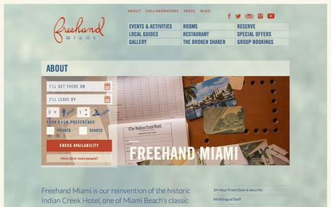Screenshot of About Page thefreehand.com - Freehand Miami Hostel › About - captured Nov. 6, 2014