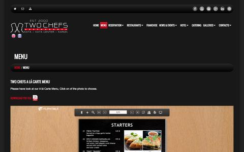 Screenshot of Menu Page twochefs.com - Menu     Two Chefs Bar & Grill - captured Feb. 16, 2016