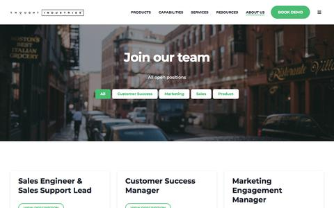 Screenshot of Jobs Page thoughtindustries.com - Careers | Thought Industries - captured March 15, 2018