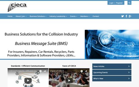 Screenshot of Menu Page cieca.com - CIECA (Collision Industry Electronic Commerce Association) - captured March 9, 2018