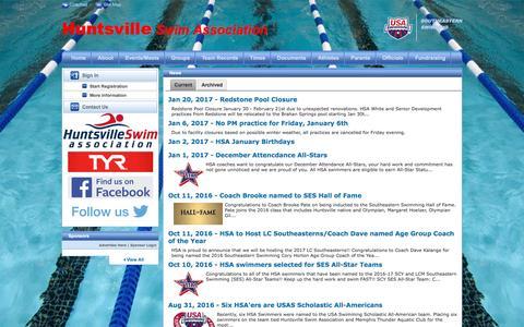 Screenshot of Press Page teamunify.com - Huntsville Swim Association : News - captured Jan. 22, 2017
