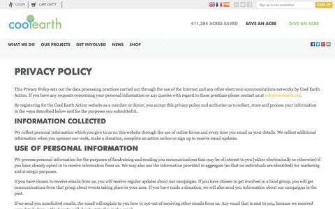 Screenshot of Privacy Page coolearth.org - Our Privacy Policy | How We Protect Your Information | Cool Earth - captured Sept. 30, 2014