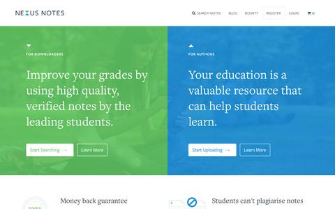 Screenshot of Home Page nexusnotes.com - Nexus Notes - The #1 marketplace for student notes - captured Feb. 25, 2016