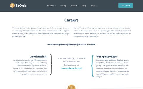 Screenshot of Jobs Page exordo.com - Careers | Ex Ordo - captured April 27, 2018