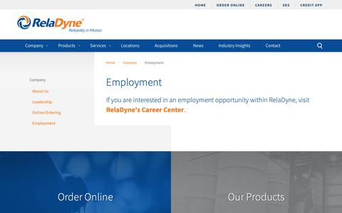 Screenshot of Jobs Page reladyne.com - Employment   Become a Part of the RelaDyne Family - captured Sept. 29, 2018
