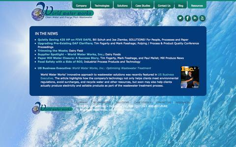 Screenshot of Press Page worldwaterworks.com - World Water Works, Inc. :: In The News - captured Oct. 26, 2014