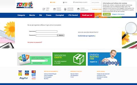 Screenshot of Login Page toyscenter.it - Giocattoli online. Shop Toyscenter. Giochi Preziosi, Gig, Mattel, Disney, Lego - captured Sept. 23, 2014