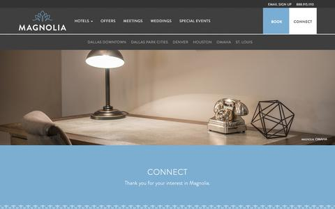 Screenshot of Contact Page magnoliahotels.com - Luxury Hotel Accommodations | Corporate Hotel Accommodations | Magnolia Hotels - captured July 27, 2018
