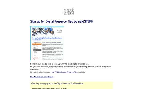 Screenshot of Signup Page nextsteph.com - Sign up for Digital Presence Tips by nextSTEPH - nextSTEPH - captured Dec. 15, 2016